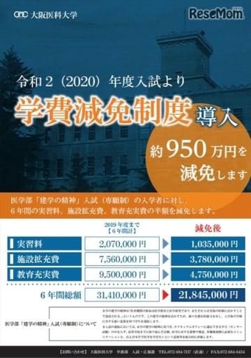 大阪医科大学「学費減免制度」