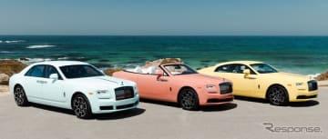 ロールスロイス・ブラックバッジのペブルビーチ2019コレクション。左から、ゴースト、ドーン、レイス。