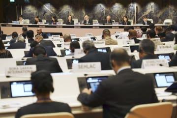 20日、ジュネーブの国連欧州本部で始まった、「殺人ロボット兵器」の規制に関する公式専門家会議(共同)
