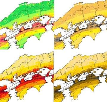 現在の政府の地震動予測地図(左上)が色覚障害者にどう見えるかのイメージ(右上)。新しい配色で示したもの(下段左)では危険度が見分けやすくなる。文科省による図を基に浅田一憲氏が開発した「色のシミュレータ」で作製した