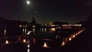 点灯された昨年の「夏灯籠」(長岡京市天神2丁目・八条ケ池)=市観光協会提供