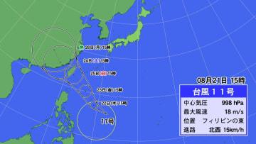 台風11号の予想進路図