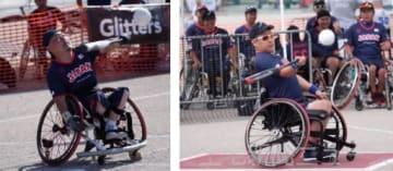 大会で力強くバットを振る平井(左)と大谷(右)(日本車椅子ソフトボール協会提供)