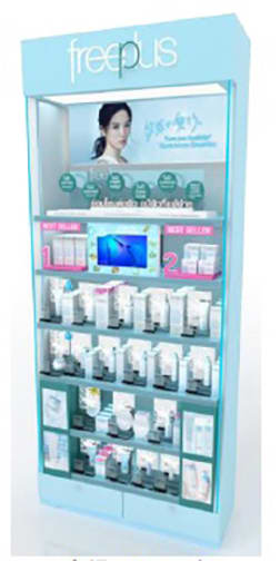 An image of an in-store Kanebo Freeplus sales counter (Courtesy of Kanebo Cosmetics)
