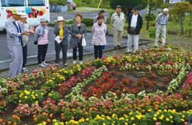 花壇づくりの参考にするため、他の町内会の花壇を見学する参加者