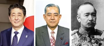 左から安倍晋三首相、佐藤栄作、桂太郎