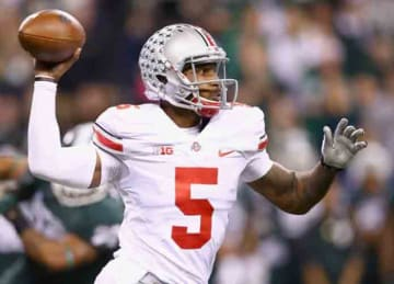 Quarterback Braxton Miller #5 of the Ohio State Buckeyes delivers a pass during the Big Ten Conference Championship game against the Michigan State Spartans at Lucas Oil Stadium on December 7, 2013 in Indianapolis, Indiana. (Photo by Andy...