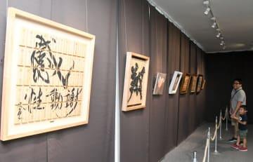 かまぼこ板をキャンバスに見立てた作品が並ぶ会場=鈴廣のかまぼこ博物館