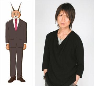 テレビアニメ「アフリカのサラリーマン」に登場するカラカル(左)と声優を務める神谷浩史さん (C)Project AFRICAN OFFICE WORKER 2019