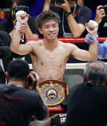 ジョナサン・ゴンサレスを7回TKOで下し、2度目の防衛に成功した田中恒成=武田テバオーシャンアリーナ
