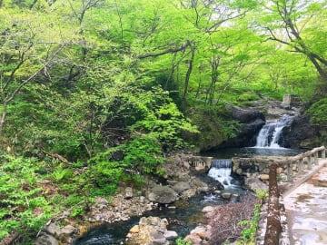 川に温泉が流れて露天風呂になっている滝壺