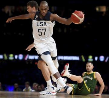22日に行われたオーストラリアとの親善試合でプレーする米国代表のクリス・ミドルトン=メルボルン(AP=共同)