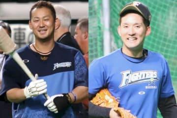 日本ハム・中田翔(左)、杉谷拳士【写真:石川加奈子】