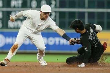 第2打席で二塁を狙うもアウトとなったエンゼルス・大谷翔平【写真:Getty Images】