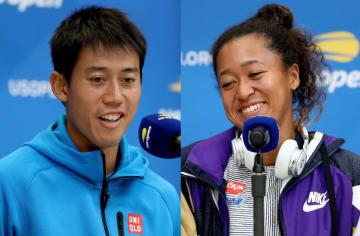 「全米オープン」での錦織(左)と大坂(右)