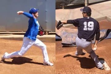 ブルペン投球を行ったドジャース・前田健太(左)、ヤンキース・田中将大【写真:盆子原浩二】