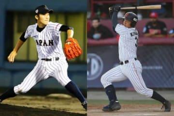 当時、侍U18代表に選出され活躍したソフトバンク・高橋純平(左)、日本ハム・清宮幸太郎【写真:Getty Images】