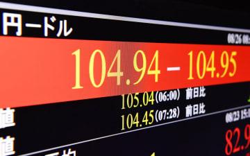 1ドルが一時104円台になったことを示すモニター=26日、東京・東新橋