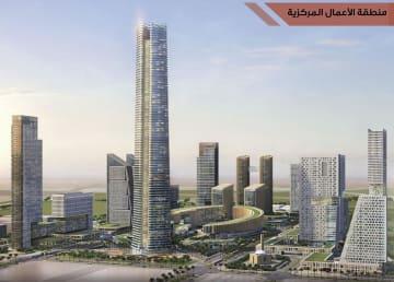 カイロ郊外の新首都予定地で建設が進む「アフリカ大陸一の高さ」の超高層ビル「アイコニックタワー」の完成予想図(エジプト新首都事業会社提供・共同)