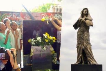 支援団体リラ・ピリピーナ/AFP=時事 今回設置された碑(左)とマニラ湾沿いに設置され撤去された慰安婦像(右)