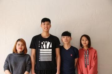 ニッセーデリカ福島工場で働くベトナム人技能実習生の4人(左から、チュオン・ティ・ホン・ロアンさん、チャン・ドゥック・ロンさん、ゴー・テー・チェンさん、ブェン・ティー・レー・フェンさん)