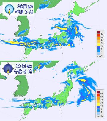 28日(水)午前6時と午後6時の雨の予想