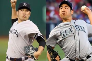 ヤンキース・田中将大(左)とマリナーズ・菊池雄星【写真:Getty Images】
