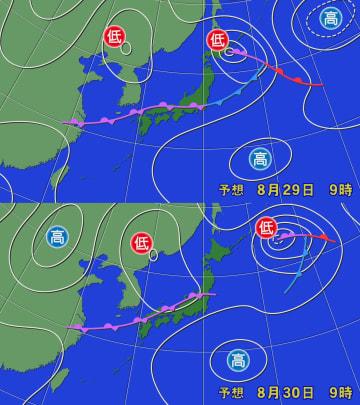 29日[上]と30日[下]午前9時の予想天気図