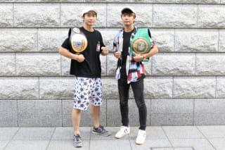 世界王座に挑む波賀(左)と変則トーナメントに参戦の大田(右)が共に大会PR