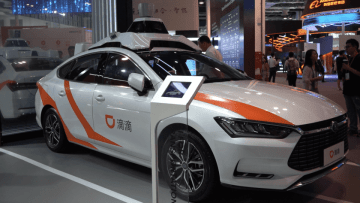 Didi's robotaxi at the World Artificial Intelligence Conference in Shanghai on August 30, 2019. (Image credit: TechNode/Shi Jiayi)