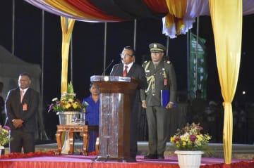 記念式典であいさつする、東ティモールのルオロ大統領=30日、ディリ(共同)