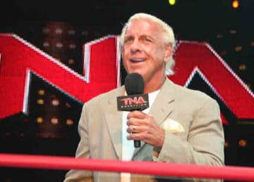 Ric Flair at the TNA Impact! tapings on July 26, 2010
