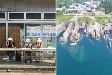 見た目はシュールだが、そこには絶景が(画像は左がタフィー@TO_tuffyさん提供、右が上野浩幸さんのフェイスブックより)