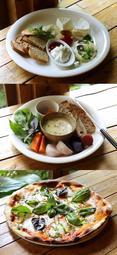 (上)よくばりチーズプレート(中)ミニカマンベールフォンデュ(下)マルゲリータピザ=弓削牧場