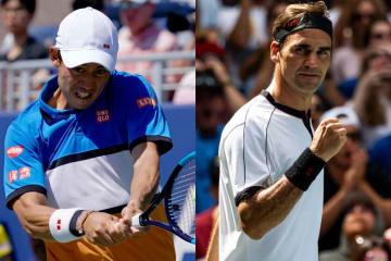 「全米オープン」での錦織(左)とフェデラー(右)