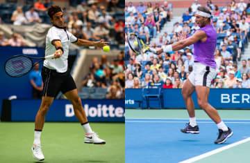2019年「全米オープン」での(左)フェデラーと(右)ナダル