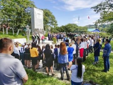 色丹島の穴澗で行われた対日戦勝記念の式典=2日(島民提供・共同)