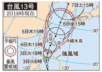 台風13号の進路予想図