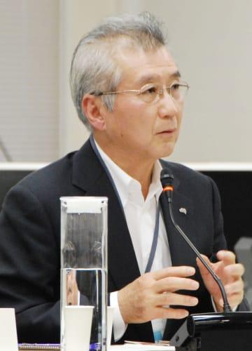 原子力規制委との意見交換会で発言する中部電力の勝野哲社長=3日午後、東京都港区