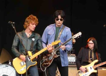 The Raconteurs performing at T in the Park, Scotland in July 2008. Left to right: Patrick Keeler, Brendan Benson, Jack White and Jack Lawrence.