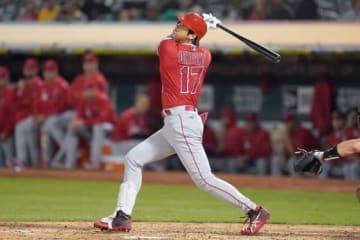 第3打席に二塁打を放ったエンゼルス・大谷翔平【写真:AP】