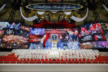 ジャニー喜多川さんのお別れの会で設けられた舞台状の祭壇=東京ドーム