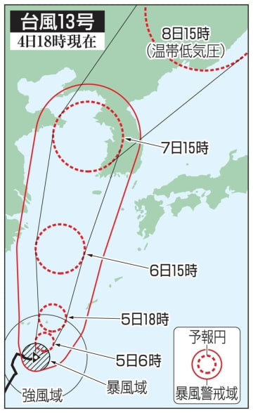 台風13号の5日先予想進路(4日18時現在)