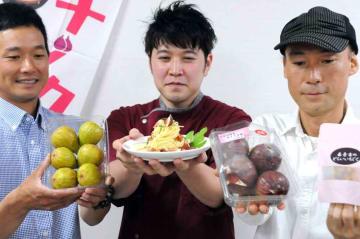 会場で販売される市内産イチジクや、料理教室で作り方を教える冷製パスタ(京都府城陽市役所)