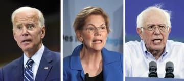 左からバイデン前米副大統領(AP=共同)、ウォーレン米上院議員(ゲッティ=共同)、サンダース米上院議員(ゲッティ=共同)