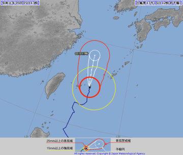 台風13号の針路予想図(気象庁HPより)