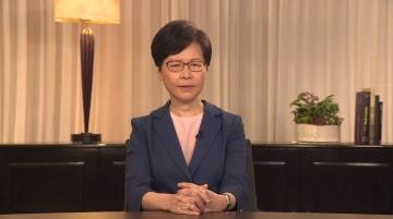 香港政府トップの林鄭月娥(キャリー・ラム)行政長官は、ビデオ演説で「4つの提案」をしている(写真は香港政府ウェブサイトから)