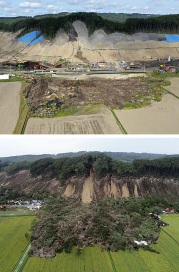 今年9月5日(上)と2018年9月7日に撮影した北海道厚真町吉野地区の土砂崩れ現場。土砂は撤去され斜面の整備が進むが、復旧はまだ遠い(小型無人機から)