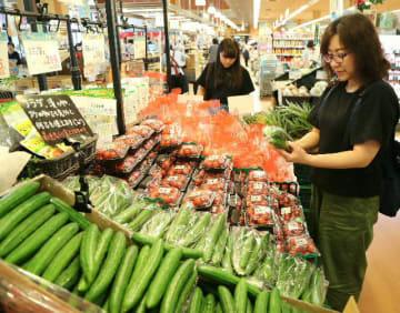 日照不足で価格が高騰している野菜=大分市内のスーパー