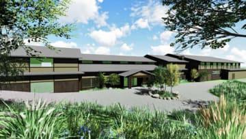 高湯温泉に建設される宿泊施設の完成予想図